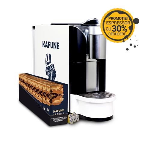 Pachet espressor Kafune N + 120 de capsule Kafune Arabica compatibile Nespresso