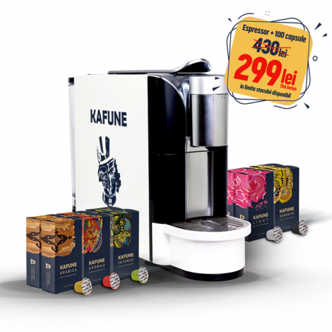 Pachet espressor Kafune CM7006-GS + 100 de capsule Kafune compatibile Nespresso
