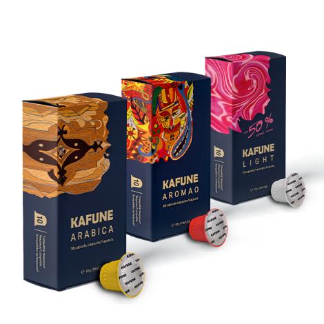 Pachet Kafune Capsule compatibile NSP - 120 Arabica + 120 Aromao +120 Light