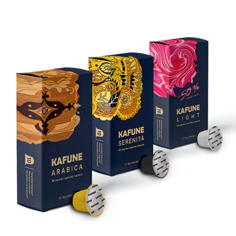 Pachet Kafune Capsule compatibile NSP - 120 Arabica + 120 Serenita +120 Light