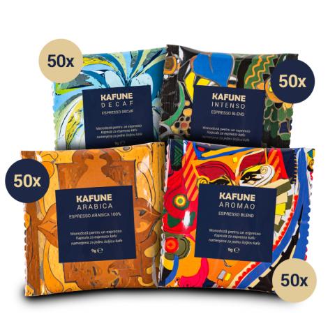 Pachet Kafune Monodoze - 50 Arabica + 50 Intenso + 50 Aromao + 50 Decaf